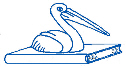 Our logo - a pelican sitting on a book