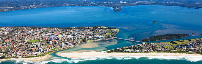 Aerial photo of Tuggerah Lake. Copyright: Skyepics.com.au